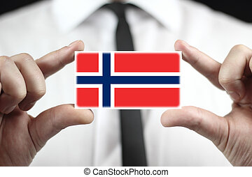business card with a Norway Flag