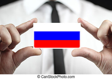 business card with a Russia Flag