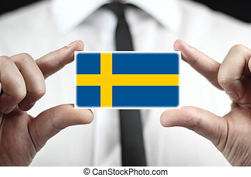 business card with a Sweden Flag