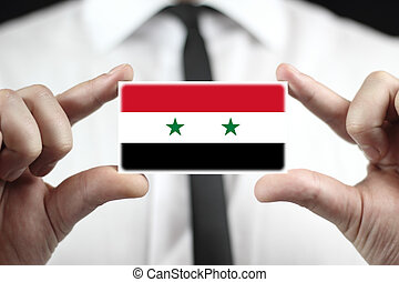 business card with a Syria Flag