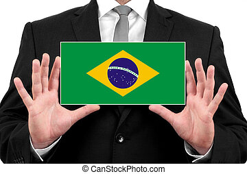 Businessman holding a business card with Brazil Flag