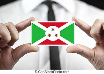 Businessman holding a business card with Burundi Flag