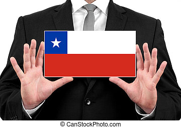 Businessman holding a business card with Chile Flag