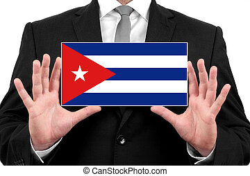 Businessman holding a business card with Cuba Flag