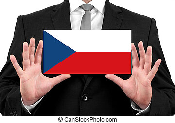 Businessman holding a business card with Czech Republic Flag