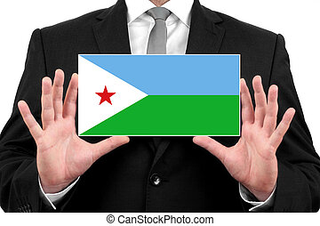 Businessman holding a business card with Djibouti Flag