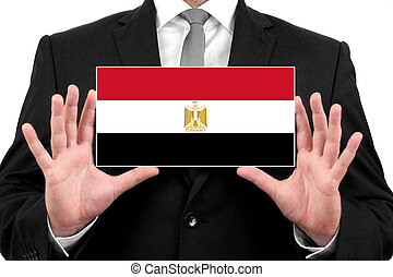 Businessman holding a business card with Egypt Flag