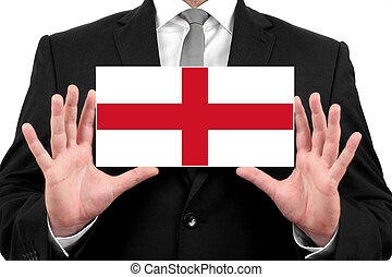Businessman holding a business card with England Flag