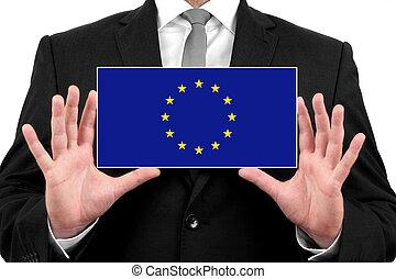 Businessman holding a business card with EU Flag