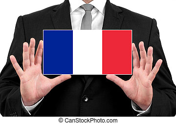 Businessman holding a business card with France Flag