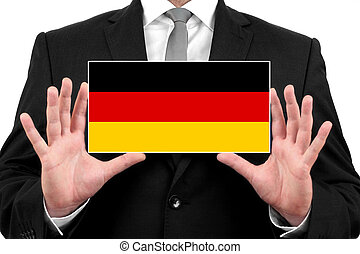 Businessman holding a business card with Germany Flag