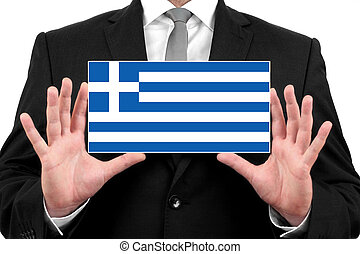 Businessman holding a business card with Greece Flag