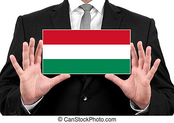 Businessman holding a business card with Hungary Flag
