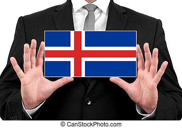 Businessman holding a business card with Iceland Flag