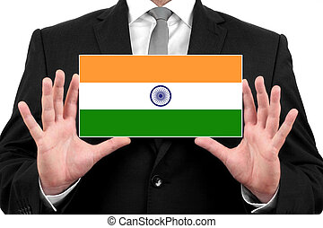 Businessman holding a business card with India Flag