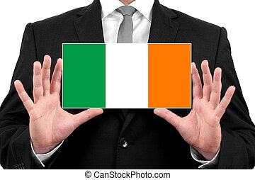 Businessman holding a business card with Ireland Flag