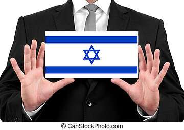 Businessman holding a business card with Israel Flag