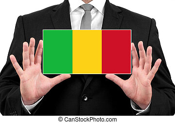 Businessman holding a business card with Mali Flag