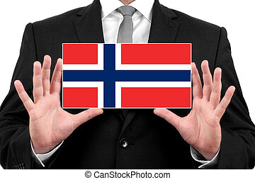 Businessman holding a business card with Norway Flag