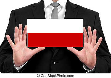 Businessman holding a business card with Poland Flag