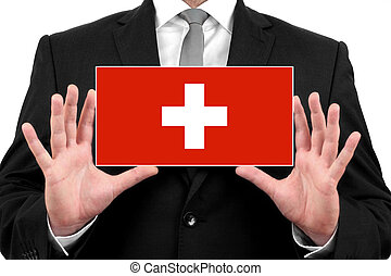 Businessman holding a business card with Switzerland Flag