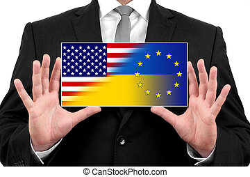 Businessman holding a business card with Ukraine, EU and USA Flag