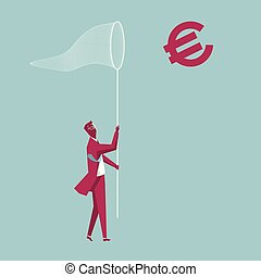 Businessman holding a butterfly net. Capture the euro. The background is blue.