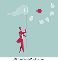 Businessman holding a butterfly net. Capture the light bulb. The background is blue.
