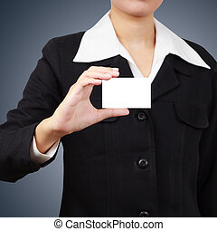 Businessman holding a card.