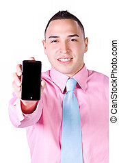 Businessman Holding a Cell Phone - Isolated Businessman...