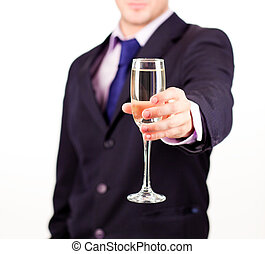 Businessman holding a champagne glass