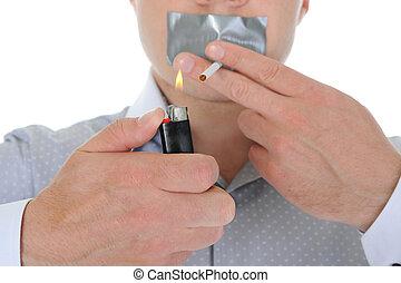 Businessman holding a cigarette