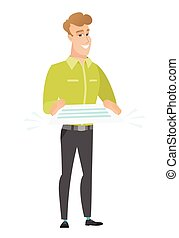 Businessman holding a contract vector illustration