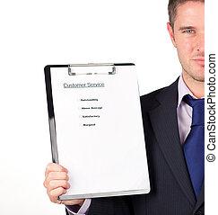 businessman holding a customer service