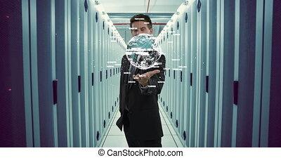 Businessman holding a digital globe 4k