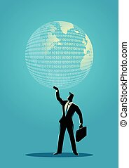 Businessman holding a digital globe - Business concept...