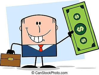 Businessman Holding A Dollar Bill