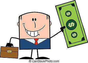 Businessman Holding A Dollar