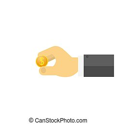 Businessman holding a dollar coin in his hand .