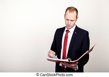 businessman holding a folder Isolated on white background.