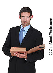 businessman holding a folder