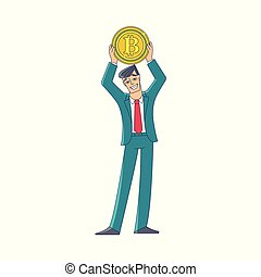 Businessman holding a giant coin with BTC symbol -...