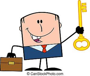 Businessman Holding A Golden Key