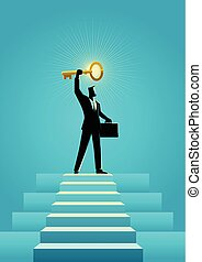 Businessman holding a golden key on top of stairs