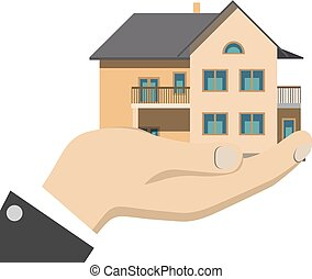 Businessman holding a house isolated