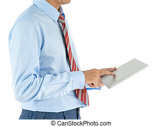 Businessman holding a laptop with clipping path