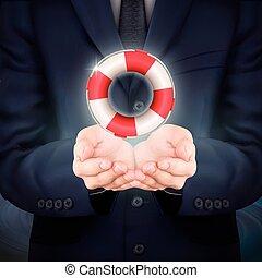 businessman holding a lifebuoy