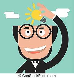 Businessman Holding A Light Bulb Idea Concept Vector Illustration