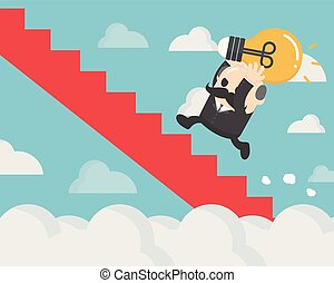 Businessman holding a light bulb up the red stairs through the clouds.