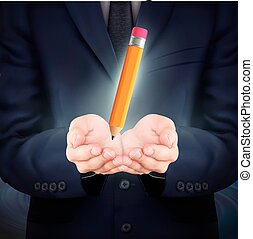 businessman holding a lovely pencil